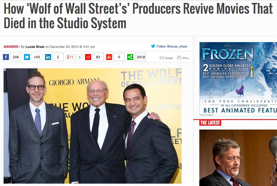 """A news report about how Red Granite's Riza Aziz and Joey McFarland """"bankrolled 'Wolf of Wall Street' in spite of studio reservations."""""""