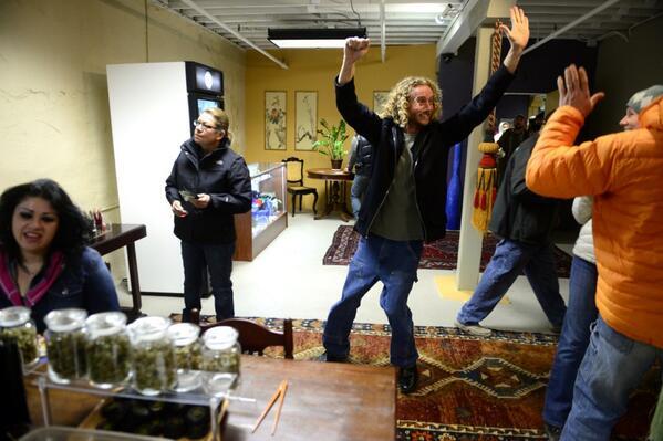 photo: coloradoans and visitors alike celebrating retail marijuana legalization. freedom everybody. #cannibistco