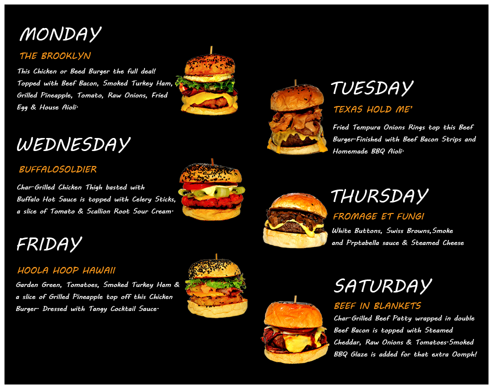 The Burger Junkyard features daily set lunch promotions.