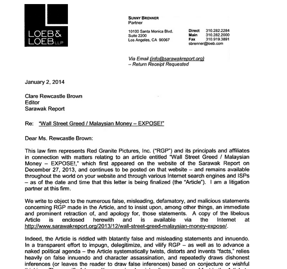 A screen shot of the letter received by Clare Rewcastle-Brown.