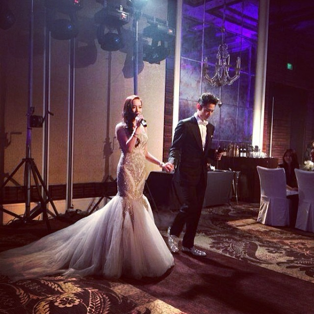 Vanness Wu and his bride, Arissa Cheo, at their wedding reception in Singapore.