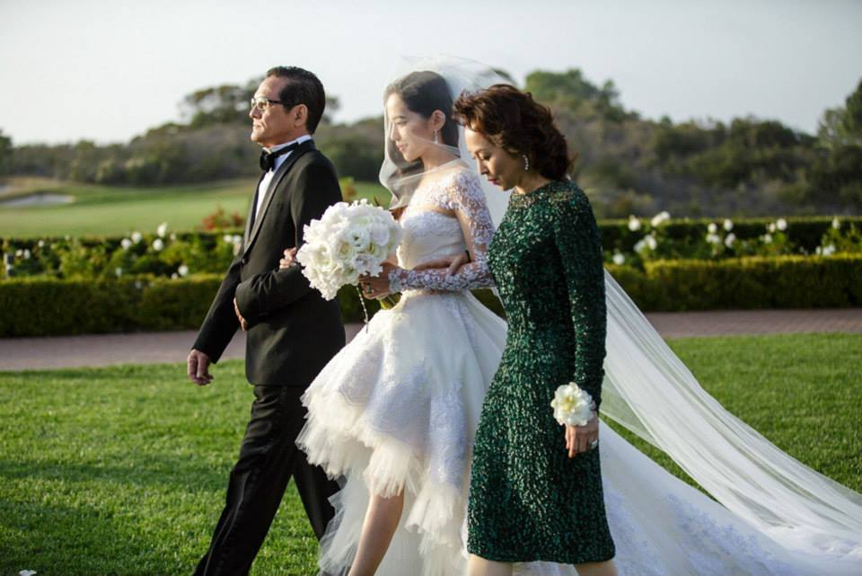 Arissa Cheo at her wedding ceremony with Vanness Wu in Los Angeles.