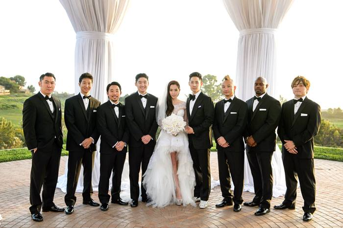Vanness Wu and Arissa Cheo at their wedding ceremony in Los Angeles