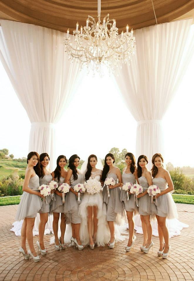 Arissa Cheo with her bridesmaids and maid-of-honours