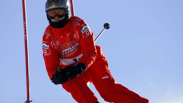 Michael Schumacher speeds down a course in Madonna di Campiglio, Italy in 2006. Photo: AP