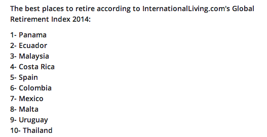 Best places to retire according to International Living.com's Global Retirement Index 2014.