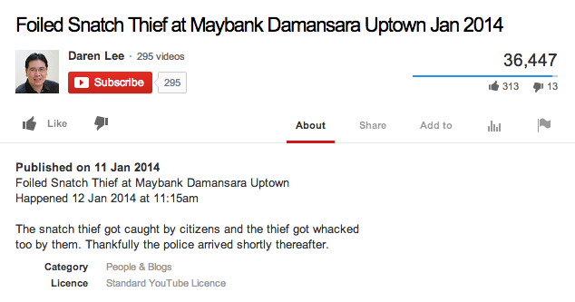 "Description for the video titled ""Foiled Snatch Thief At Maybank Damansara Uptown Jan 2014""."