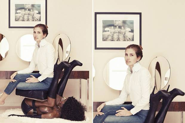 Ms Zhukova was pictured sat on the mannequin of a half-naked black woman for a photoshoot with Buro 24/7