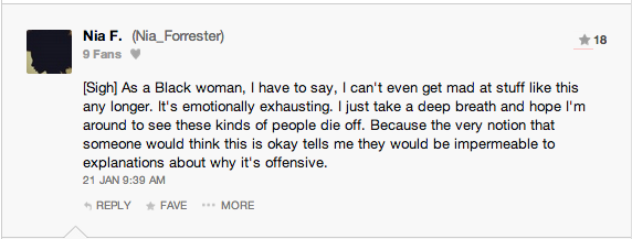 A comment from a black woman.