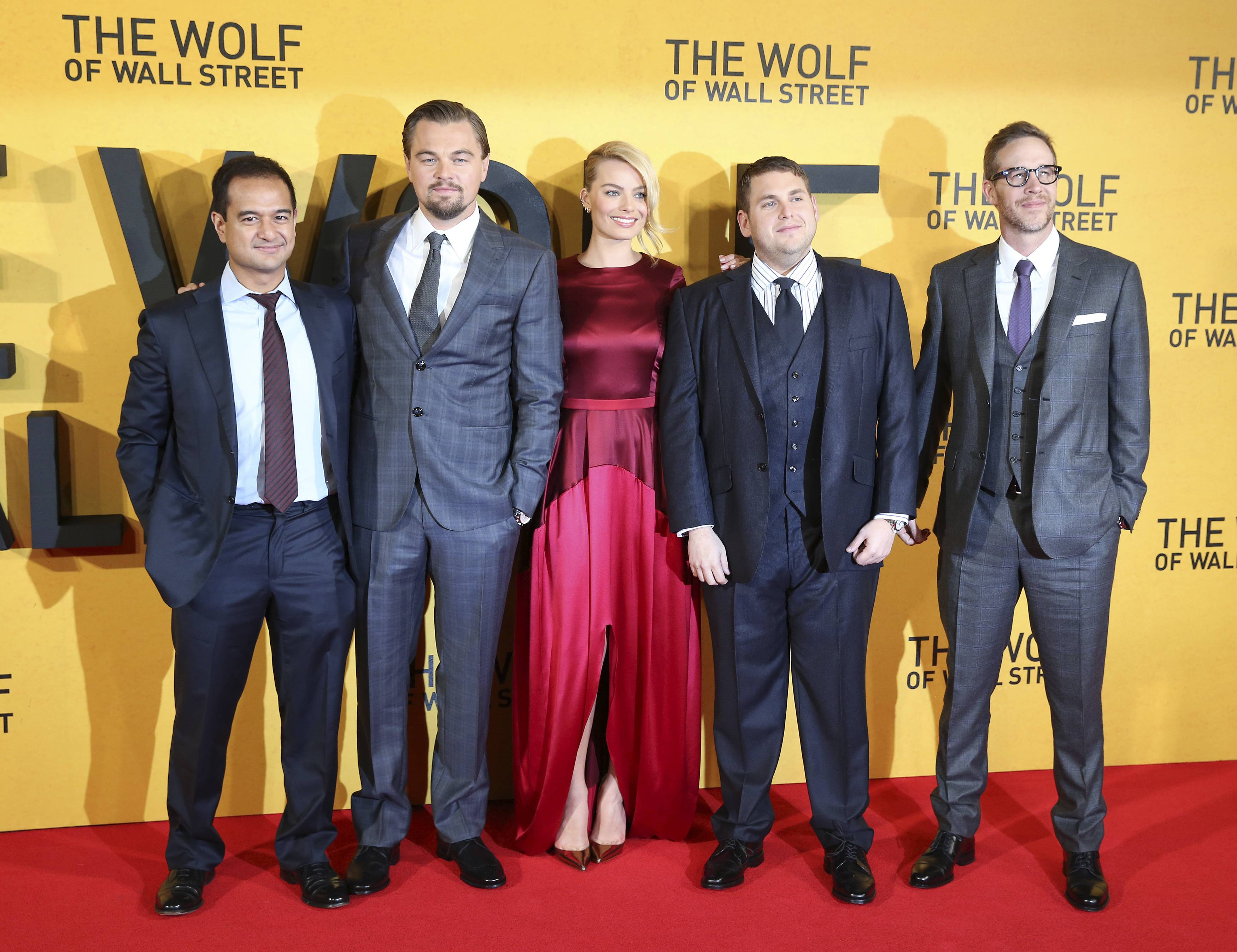 (From left) Producer Riza Aziz and cast members Leonardo DiCaprio, Margot Robbie, Jonah Hill and producer Joey McFarland arrive for the UK premiere of The Wolf of Wall Street at Leicester Square, in London last week. – Reuters pic, January 14, 2014.