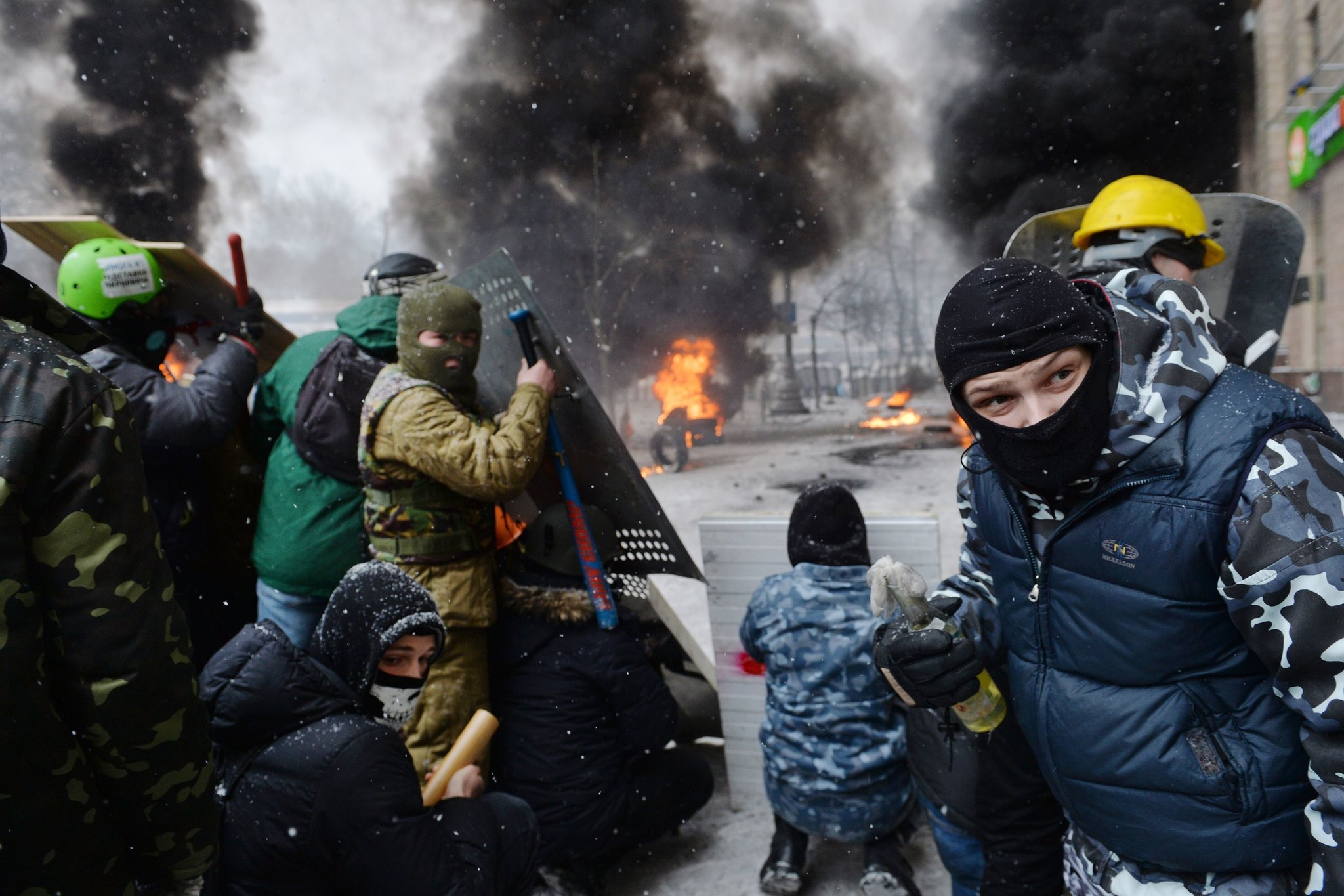 At least two protesters were shot to death in Kiev on Wednesday.