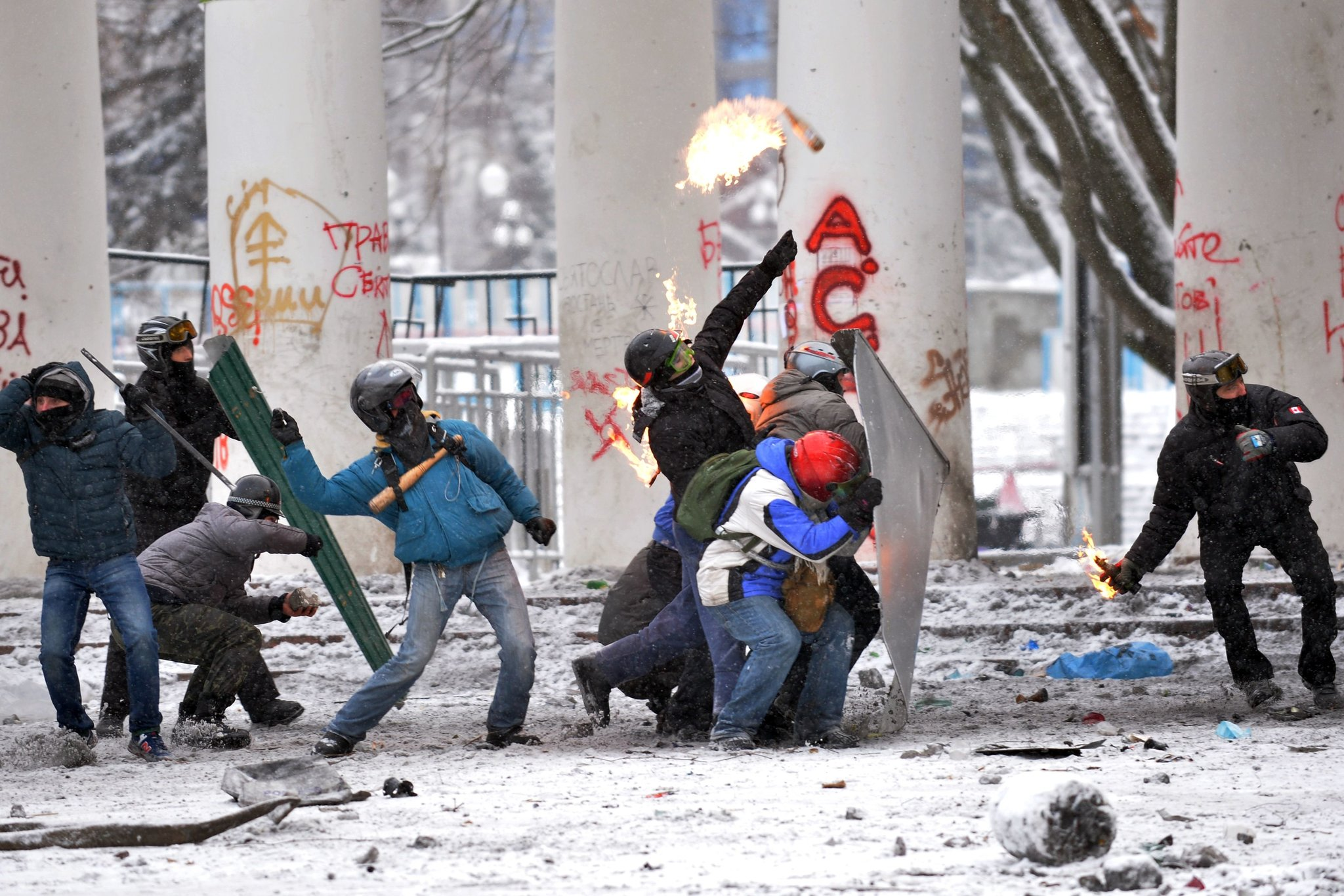 The fatalities are the first in Ukraine's two-month civil uprising.