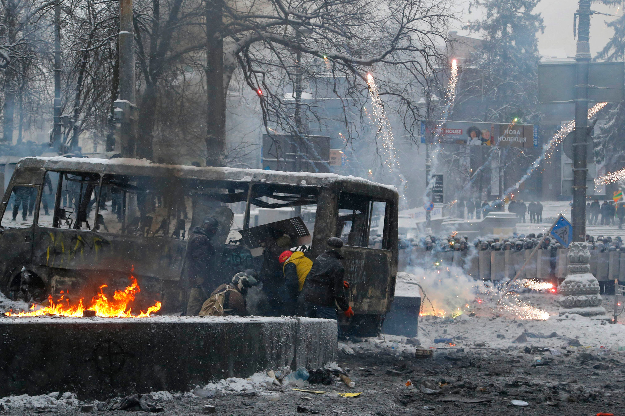 The violent standoff edged Kiev toward a state of emergency.