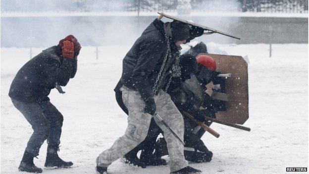The clashes are taking place amid heavy snowfall