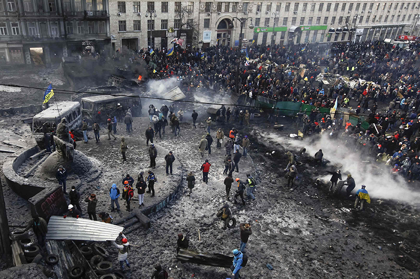 People gather near protests in Kiev's Independence Square