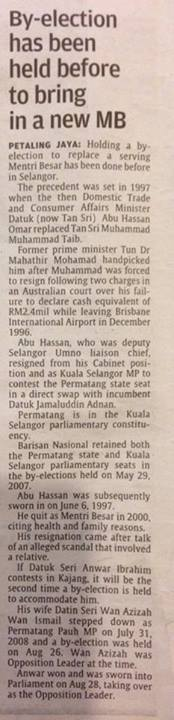 According To The Star, Barisan Nasional Had Once Also Forced A By-Election To Elect A New Selangor MB In 1997.