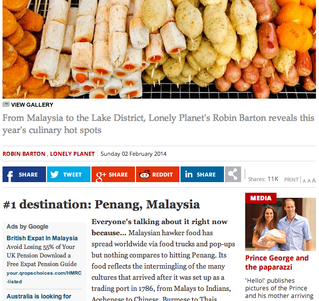 Malaysia was listed as top culinary hot spot for 2014.