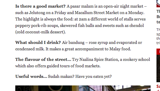 "Excerpt of The Independent's report titled ""Where are the foodies going in 2014?"""