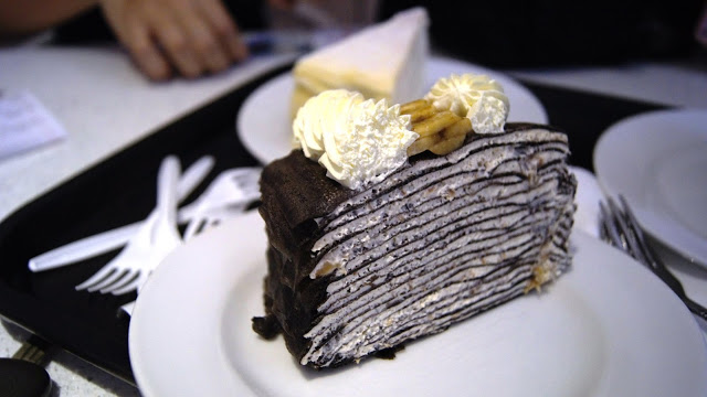 Chocolate and banana mille crepe.