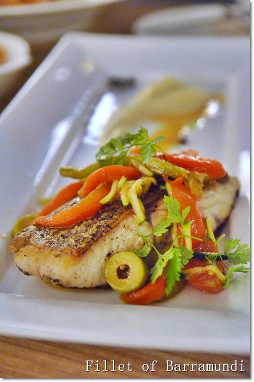 Pan-seared line-caught Barramundi with Summer Vegetables (RM48/USD16).