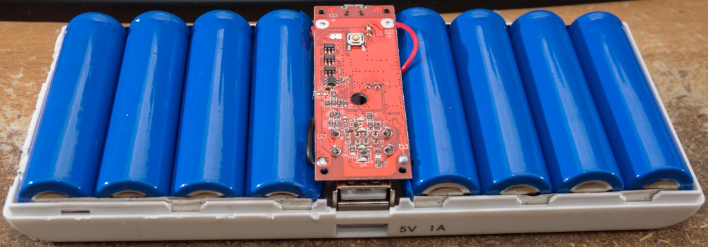 The inside of a lithium-ion power bank