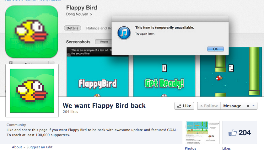 'We want Flappy Bird back' Facebook page
