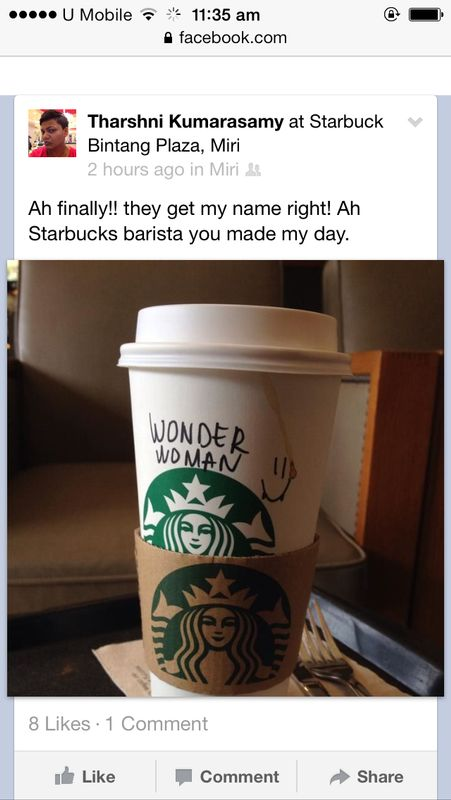 Tharshni Kumarasamy, 'they get my name right! Ah Starbucks barista you made my day.'