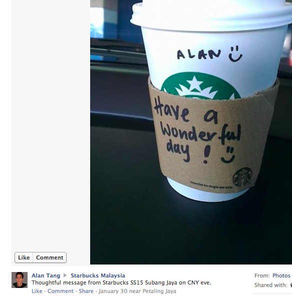Facebook user Alan Tang's comment on Starbucks Malaysia.