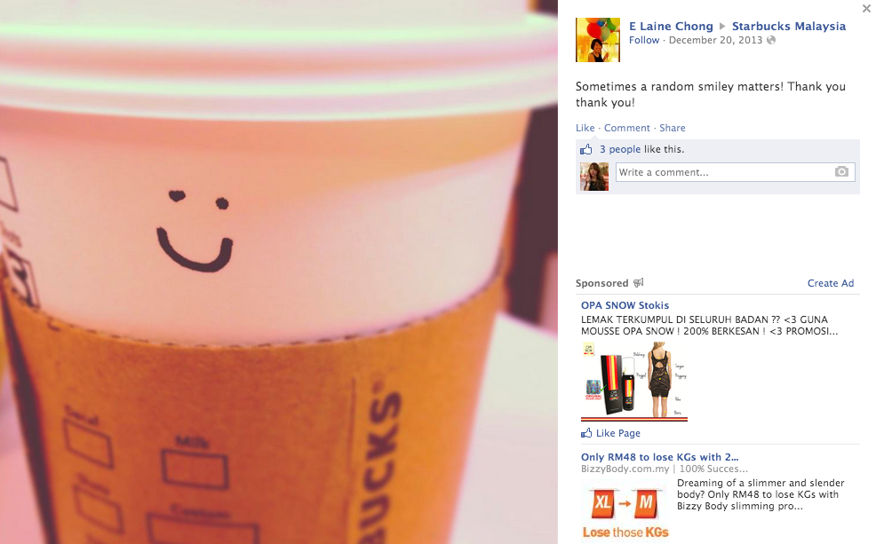 Facebook user E Laine Chong comments on Starbucks Malaysia Facebook page.