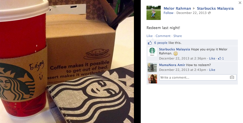 Facebook user Melor Rahman comments on Starbucks Malaysia Facebook page.