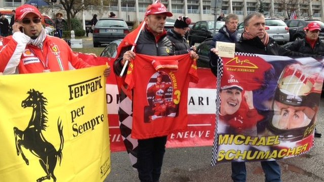 Fans mark Michael Schumacher's birthday at the hospital.