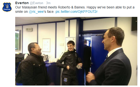 Tweet from official Everton FC