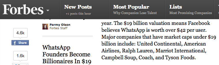 Forbes article on the acquisition of WhatsApp.