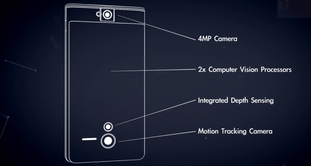 The prototype phone includes a 4MP camera, two computer vision processors, integrated depth sensing, and a motion tracking camera.