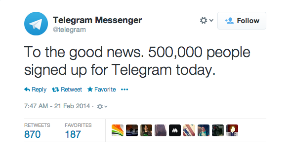 On February 20th, Telegram tweeted that it gained 500,000 new users.