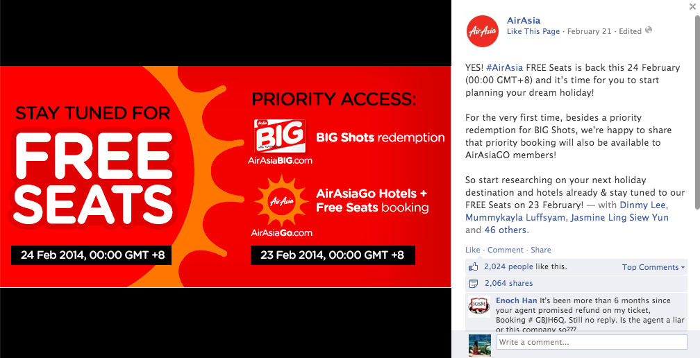 On 21 February 2014, Air Asia Announced Its Free Seats Promotion For Bookings Made On 24 February 2014.