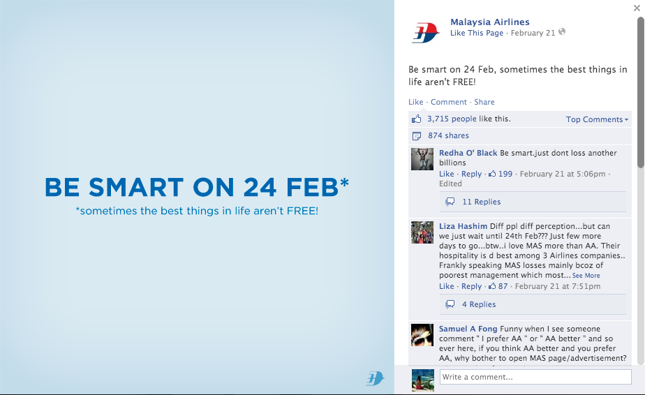 """Be smart on 24 Feb, sometimes the best things in life aren't FREE!"""