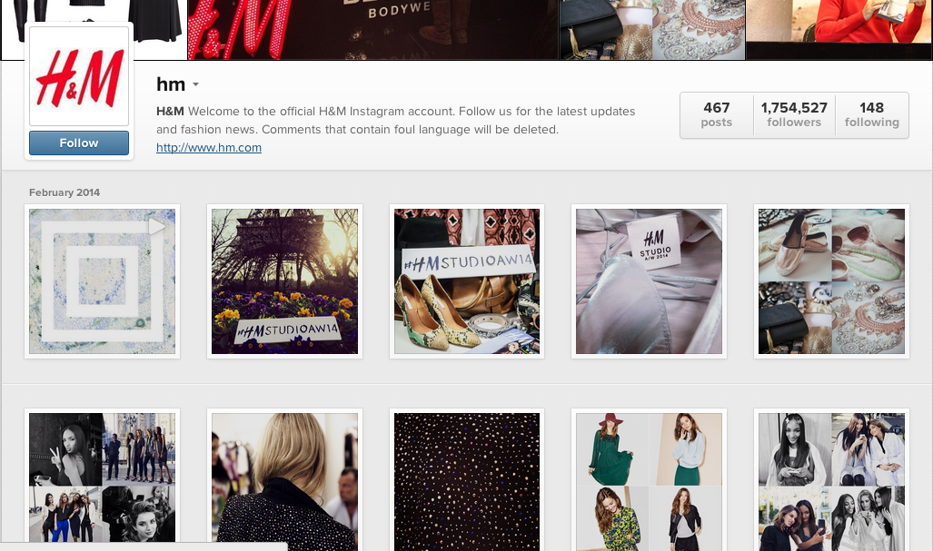 H&M official Instagram account.