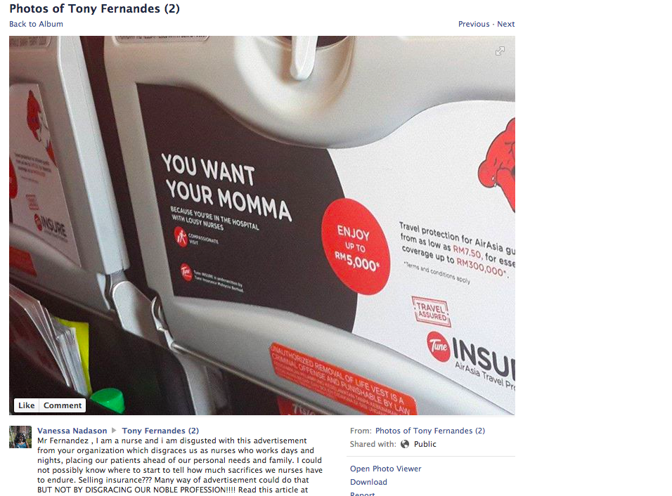 A Nurse On Facebook Has Sent A Message To Air Asia Chief Tony Fernandez Saying That The Ad Disgraces Nurses