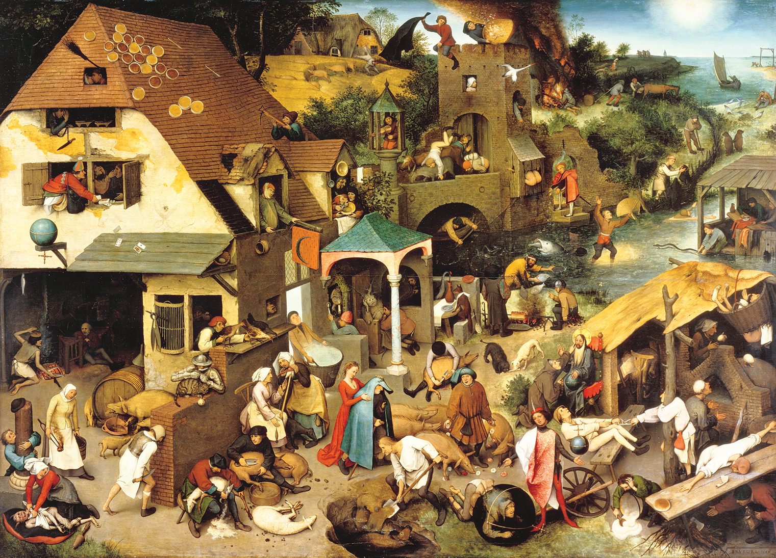 """In 1559, Dutch artist Pieter Bruegel created the oil painting """"Netherlandish Proverbs"""" which illustrates many Dutch proverbs to praise the Dutch culture."""