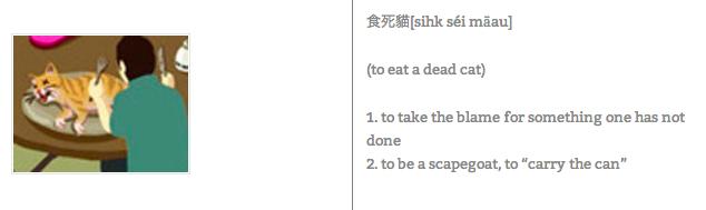 A man preparing to eat a dead cat