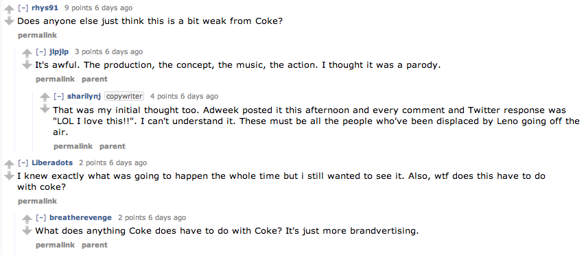 Users on Reddit respond to the Coca-Cola 'social media guard' commercial.