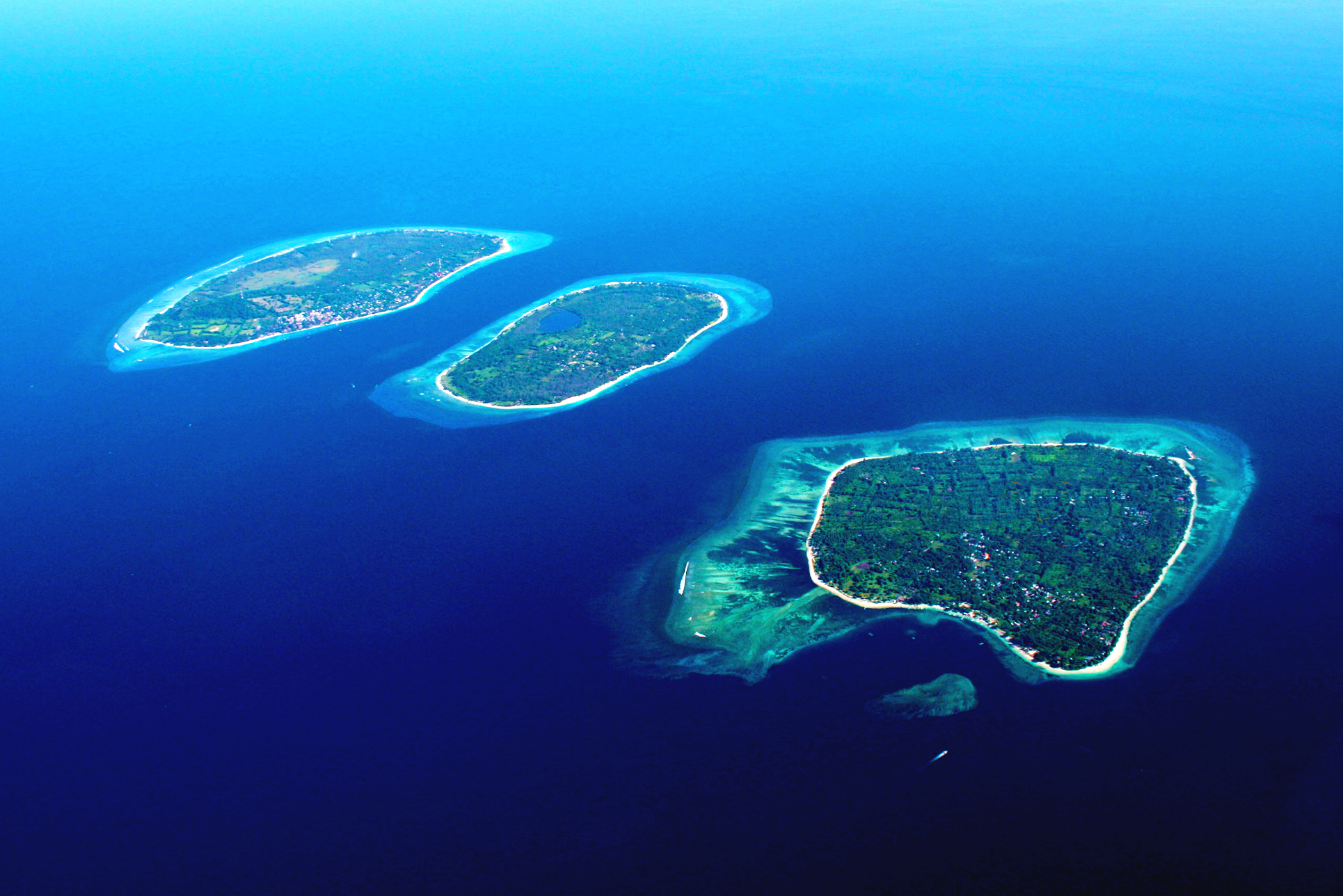 Aerial view of the Gili Islands