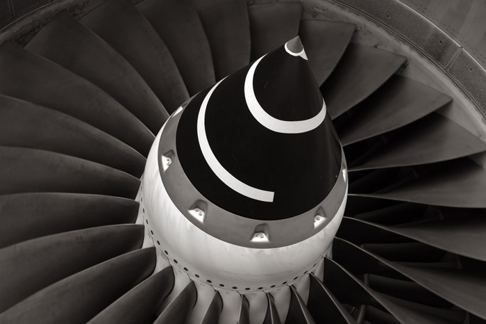 A close-up of the right wing engine of the Boeing 777 reveals the fans of the power plant of this long distance jet aircraft