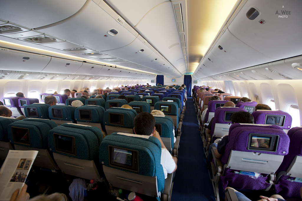 The cabin of a Malaysia Airlines 777 aircraft