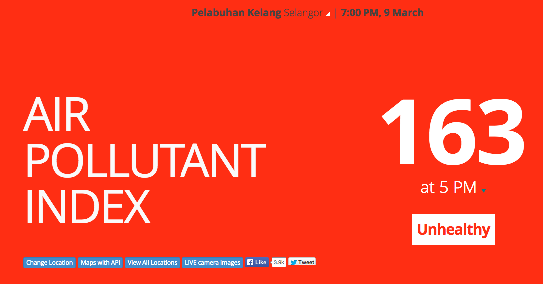 API for Port Klang, Selangor reads 163 (unhealthy API) as of 7pm, 9 March 2014