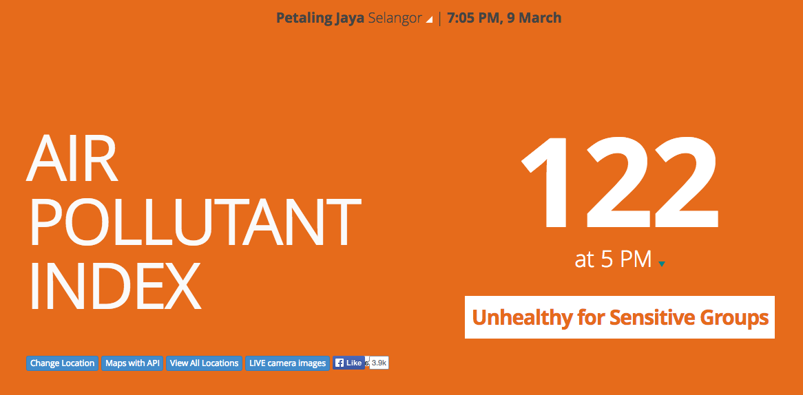 API for Petaling Jaya, Selangor reads 122 as of 7pm, 9 March 2014