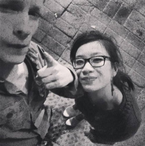 Hadrien Wattrelos (left) and Zhao Yan are shown in a July 2013 selfie. The two are listed among passengers missing aboard Malaysia Airlines flight MH 370