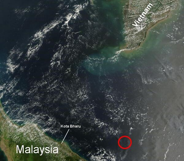 NASA satellite image of seas where Malaysia flight disappeared.