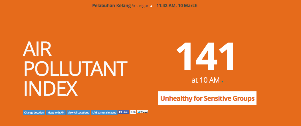 Port Klang API index on 10 March 2014